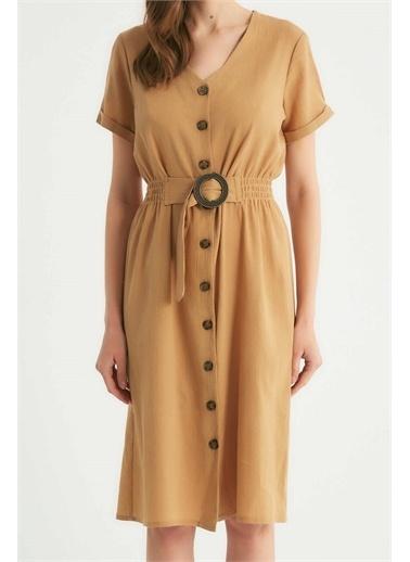 Robin Robin Düğmeli Kemer Detaylı Elbise Camel Camel